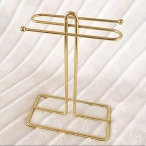 Vintage Gold Towel Rack Hook Stand Golden Chic